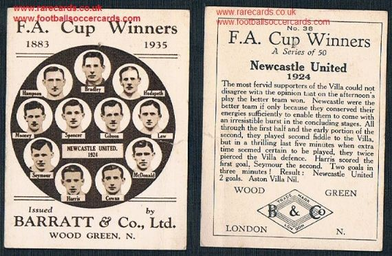 1935 Barratt F A Cup Winners 38 Newcastle United football card
